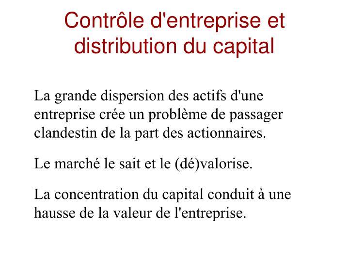 Contrôle d'entreprise et distribution du capital