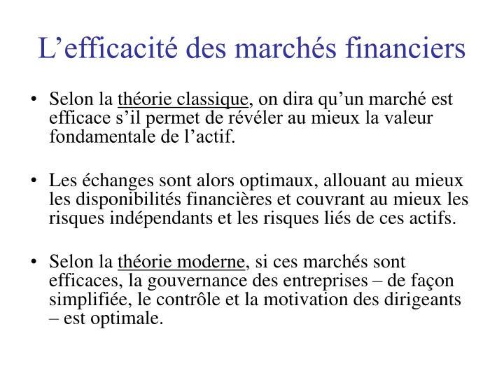 L'efficacité des marchés financiers