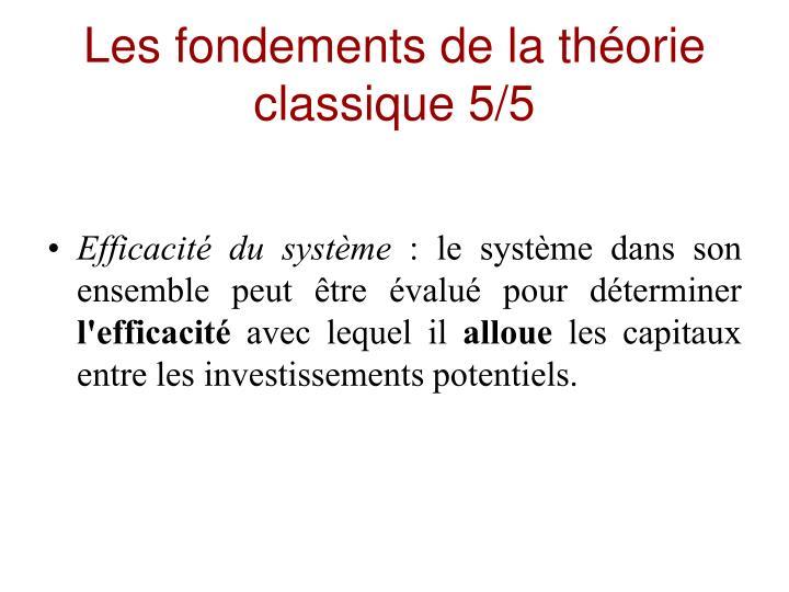 Les fondements de la théorie classique 5/5