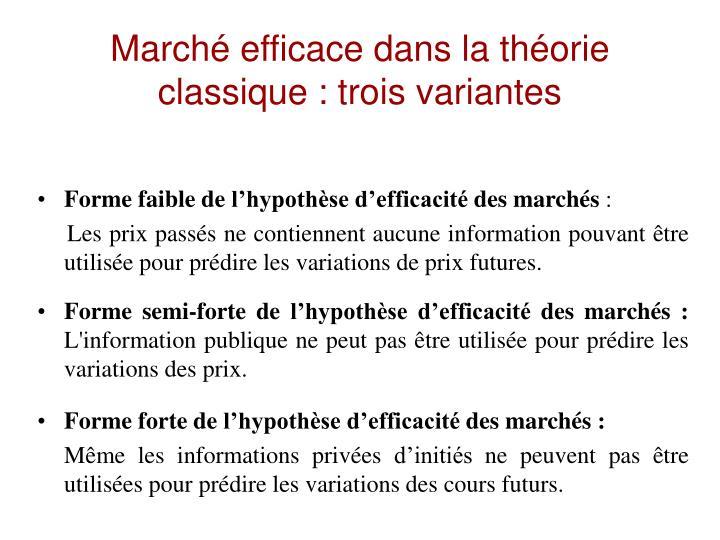 Marché efficace dans la théorie classique : trois variantes