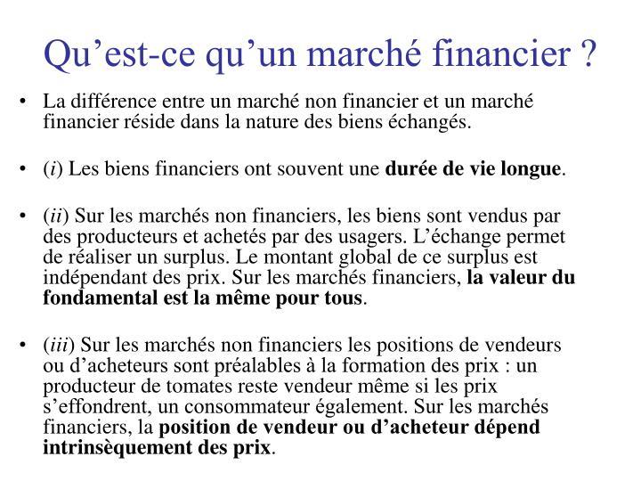 Qu'est-ce qu'un marché financier ?