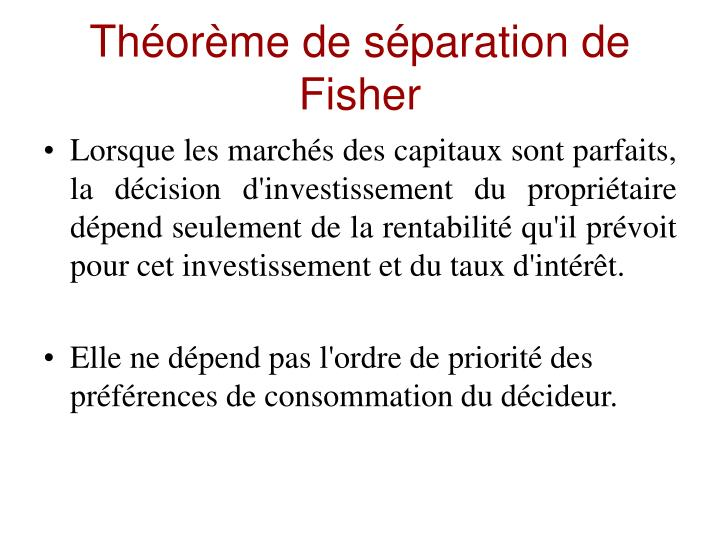 Théorème de séparation de Fisher