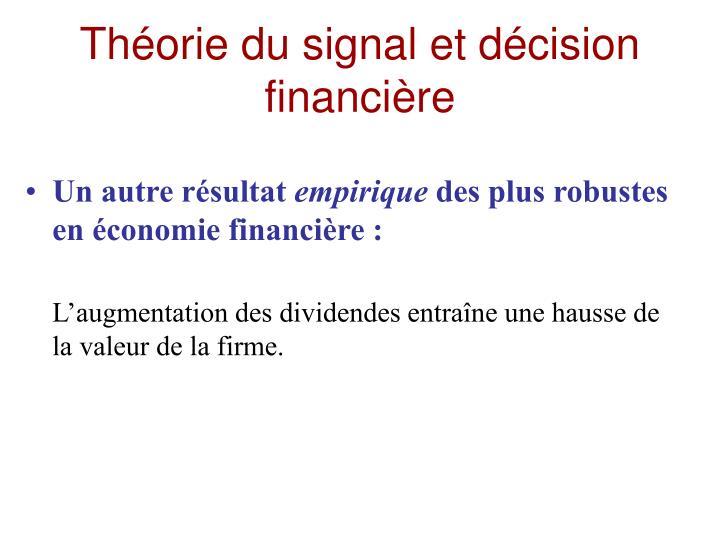 Théorie du signal et décision financière