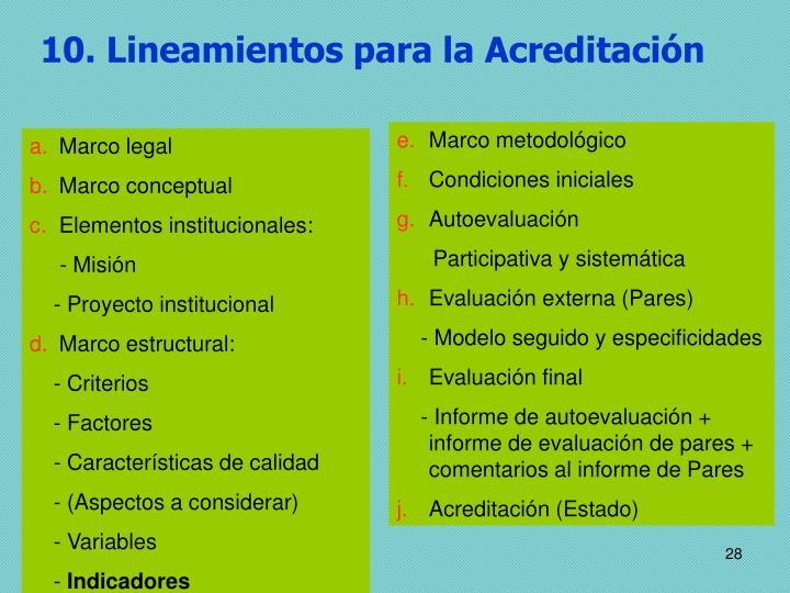 10. Lineamientos para la Acreditación
