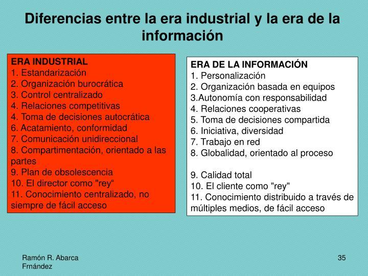 Diferencias entre la era industrial y la era de la información