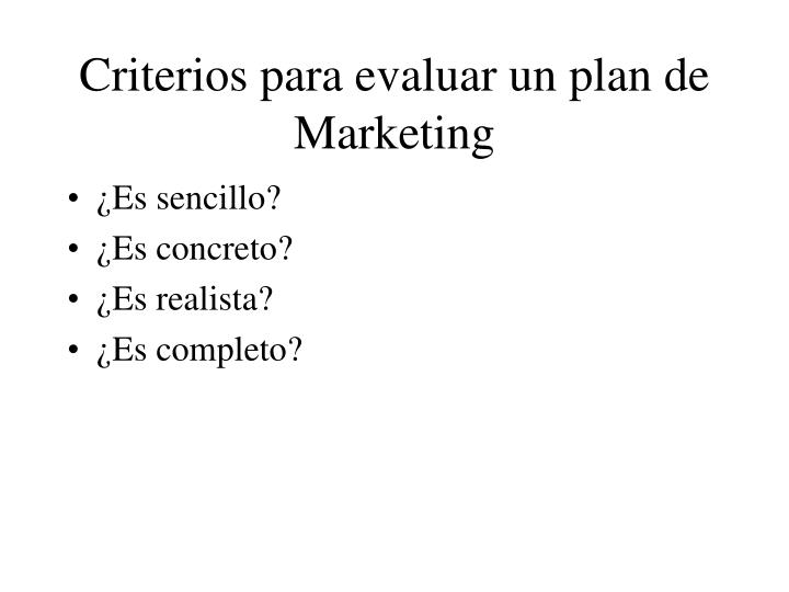 Criterios para evaluar un plan de Marketing
