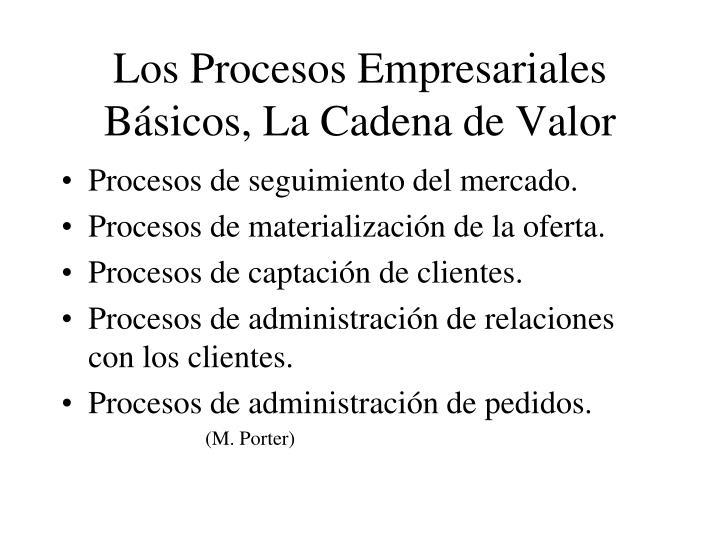 Los Procesos Empresariales Básicos, La Cadena de Valor