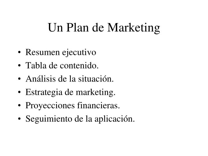 Un Plan de Marketing