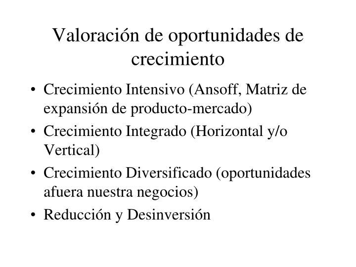 Valoración de oportunidades de crecimiento