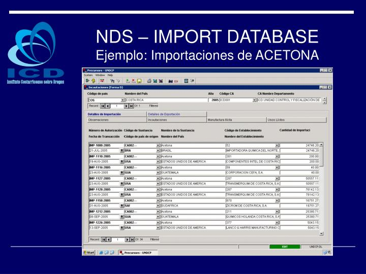 NDS – IMPORT DATABASE