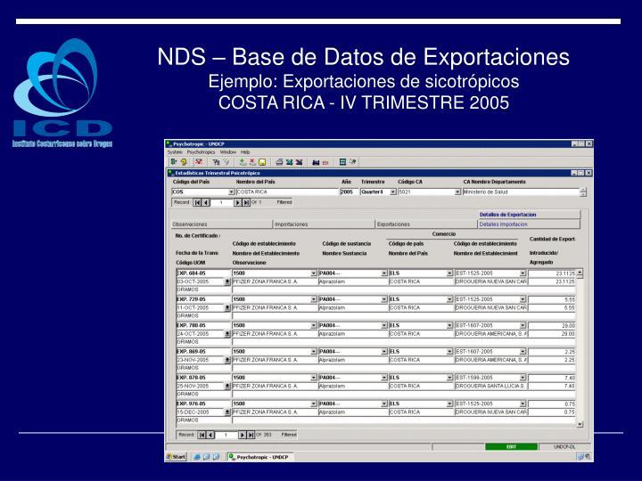 NDS – Base de Datos de Exportaciones