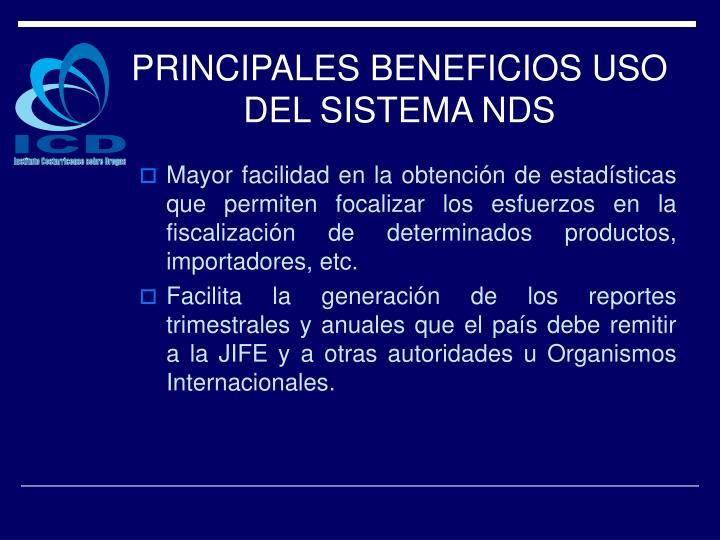 PRINCIPALES BENEFICIOS USO DEL SISTEMA NDS