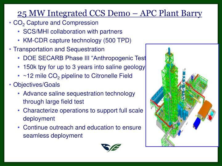 25 MW Integrated CCS Demo – APC Plant Barry