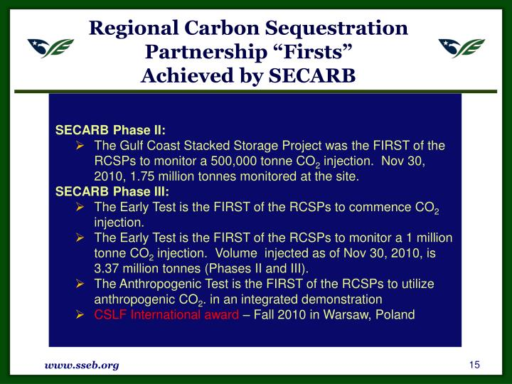 "Regional Carbon Sequestration Partnership ""Firsts"""