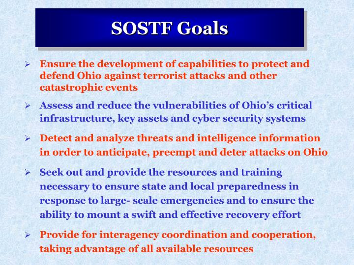Ensure the development of capabilities to protect and defend Ohio against terrorist attacks and other catastrophic events