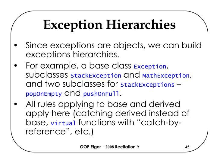 Exception Hierarchies