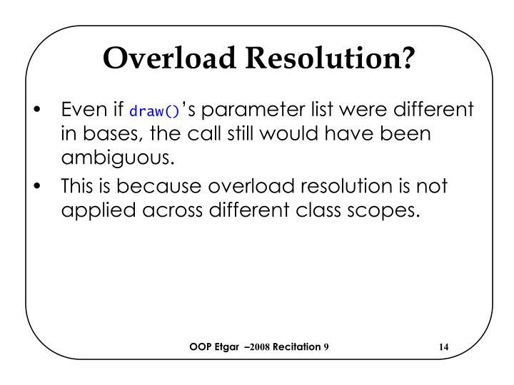 Overload Resolution?