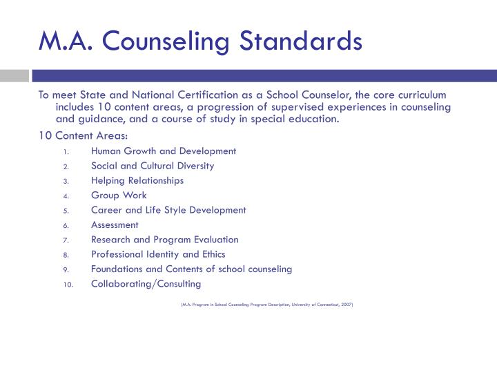 M.A. Counseling Standards