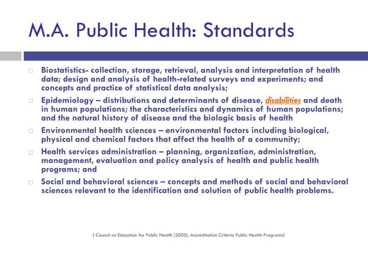 M.A. Public Health: Standards