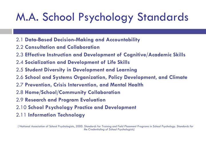 M.A. School Psychology Standards