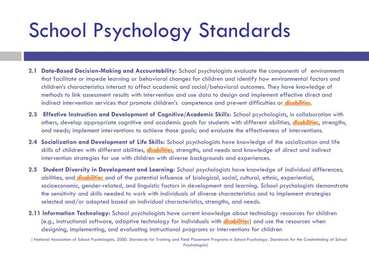 School Psychology Standards