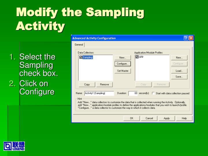 Modify the Sampling Activity