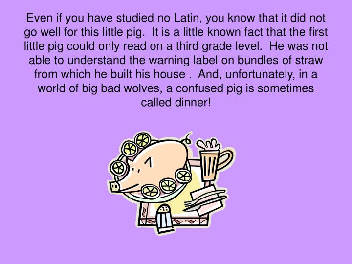 Even if you have studied no Latin, you know that it did not go well for this little pig.  It is a little known fact that the first little pig could only read on a third grade level.  He was not able to understand the warning label on bundles of straw from which he built his house .  And, unfortunately, in a world of big bad wolves, a confused pig is sometimes called dinner!