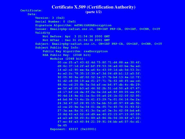 Certificato X.509 (Certification Authority)