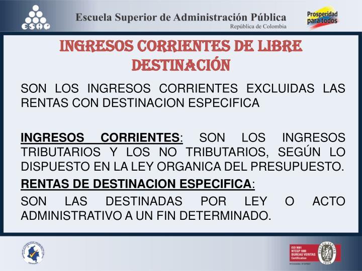 INGRESOS CORRIENTES DE LIBRE DESTINACIÓN
