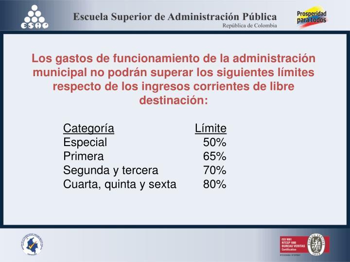 Los gastos de funcionamiento de la administración municipal n