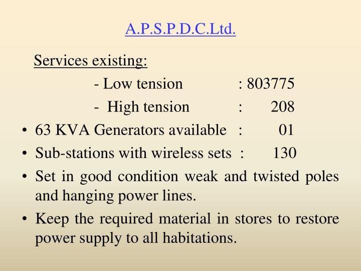A.P.S.P.D.C.Ltd.