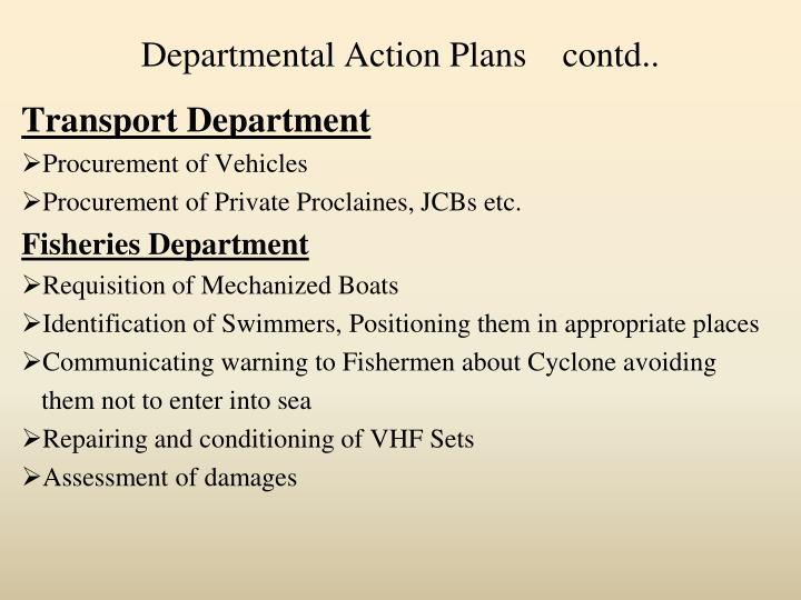 Departmental Action Plans    contd..