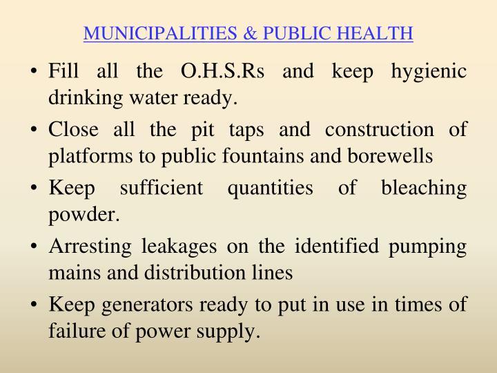 MUNICIPALITIES & PUBLIC HEALTH