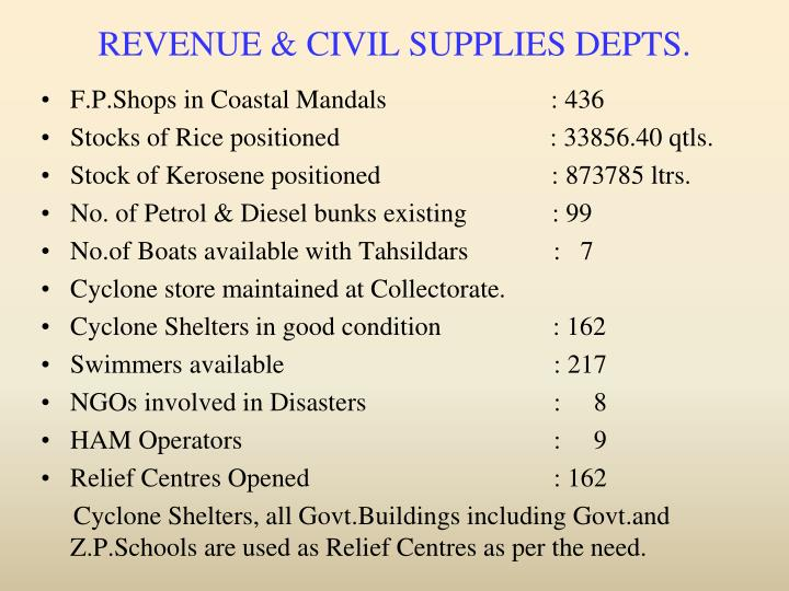 REVENUE & CIVIL SUPPLIES DEPTS.