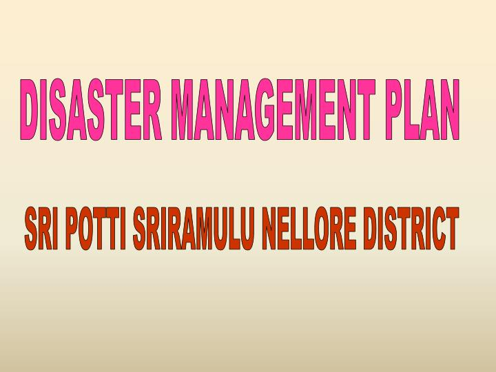 DISASTER MANAGEMENT PLAN