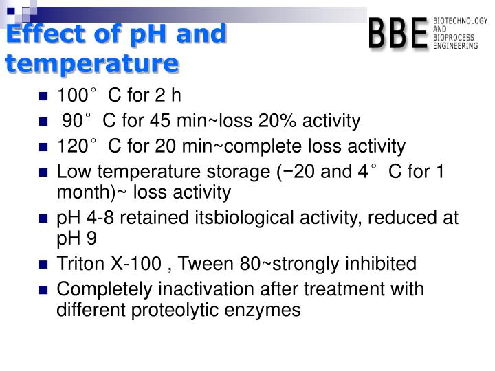 Effect of pH and temperature