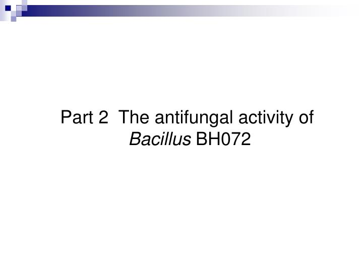 Part 2  The antifungal activity of