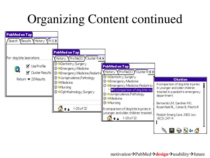 Organizing Content continued