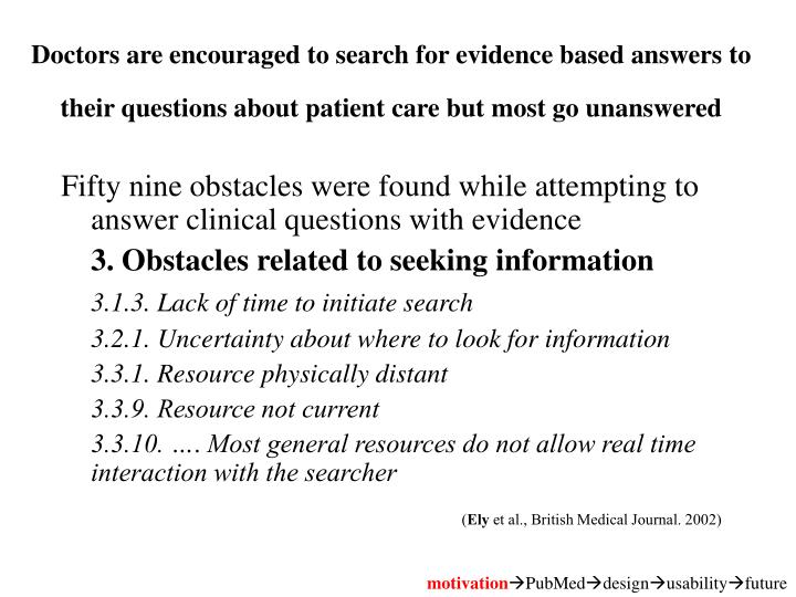Doctors are encouraged to search for evidence based answers to their questions about patient care but most go unanswered