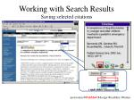 working with search results saving selected citations