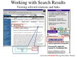 working with search results viewing selected citations and links