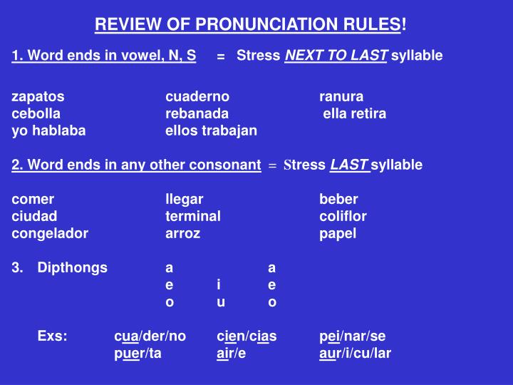 REVIEW OF PRONUNCIATION RULES