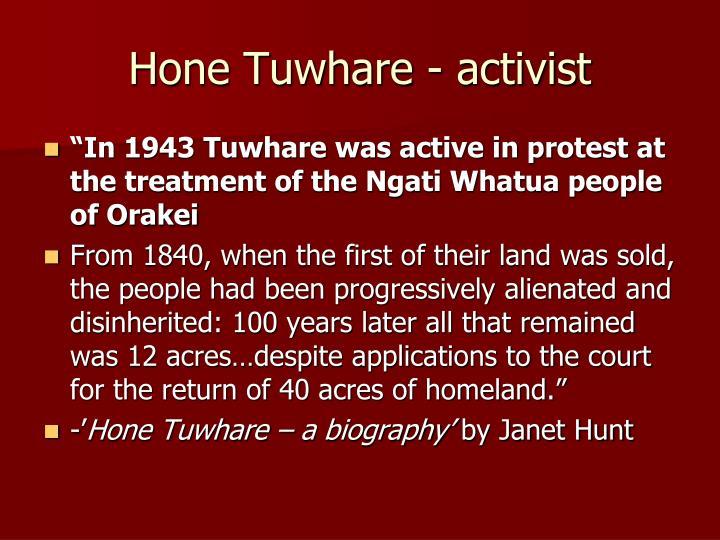 Hone Tuwhare - activist