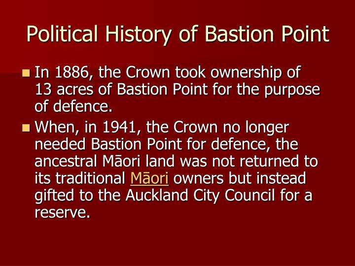 Political History of Bastion Point