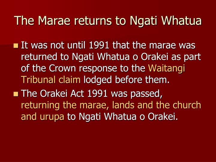 The Marae returns to Ngati Whatua
