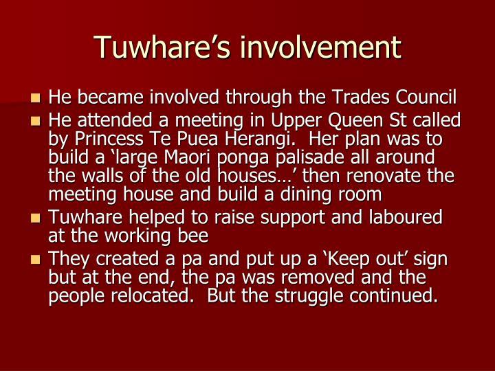 Tuwhare's involvement