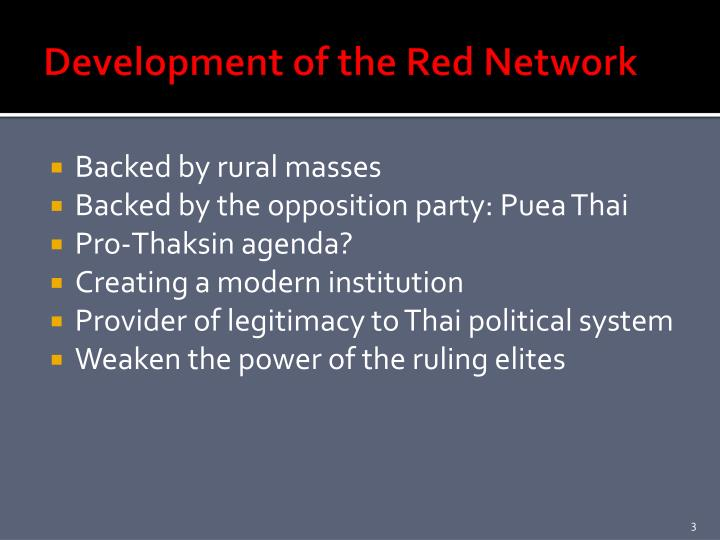 Development of the Red Network