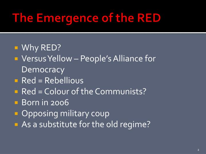 The Emergence of the RED