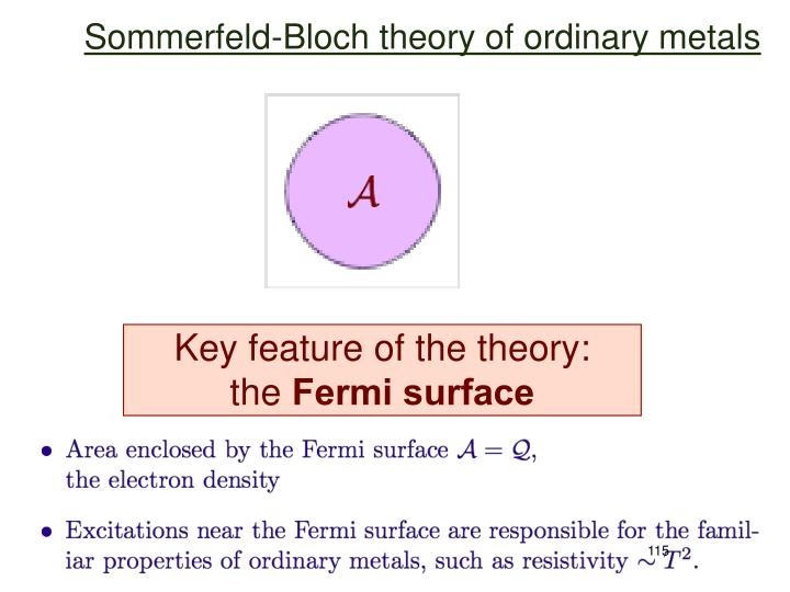 Sommerfeld-Bloch theory of ordinary metals