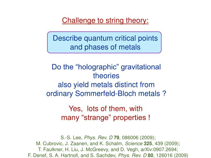 Challenge to string theory: